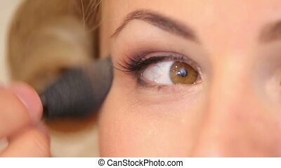 Makeup applied to models eyes