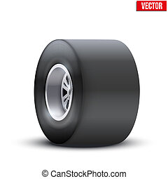 sports car wide wheel. vector illustration