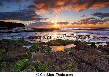 Tiurrimetta Beach Australia - Sunrise from Turrimetta Beach,...