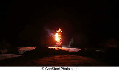 Artist turns the fire snakes performance - Artist turns the...