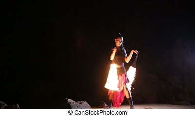 Artist turns the fiery fire-snakes fire performance - Artist...