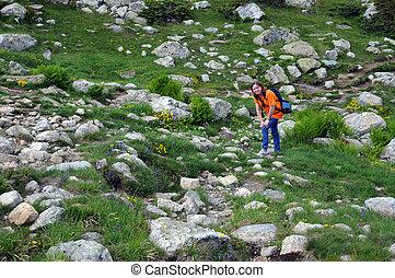 Tourist in the Rila Mountain