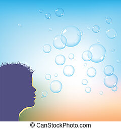 blowing soap bubbles - kid blowing soap bubbles