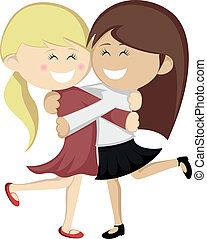 Hug collection - Lovely girlfriends are embracing and...