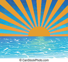 SUNSET BEACH - Tropical Sunset,Summer banner vector...