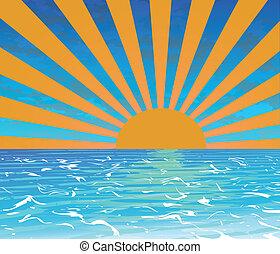 SUNSET BEACH - Tropical Sunset,Summer banner vector...