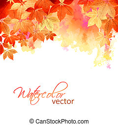 Autumn Vector Watercolor Fall Leaves - Watercolor vector...