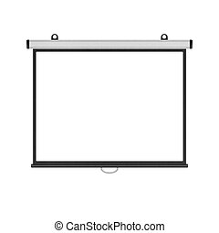 blank projector screen isolated for presentation in business...