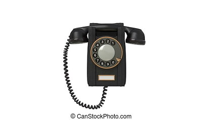 3d black phone. - Hangs on a wall and the call calls to...