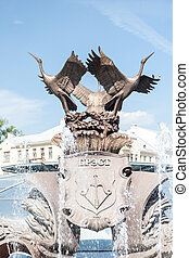 Exterior of fountain on Independance Square, Minsk, Belarus