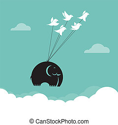 Vector image of bird and elephant in the sky, Represents the...