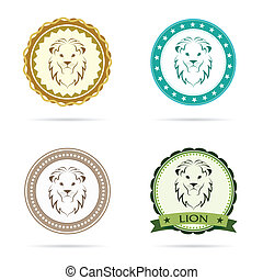 Set of vector lion label on white background
