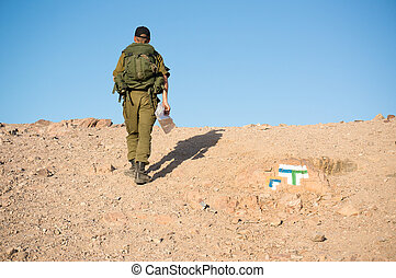 Soldiers patrol in desert - Israeli army patrol in middle...