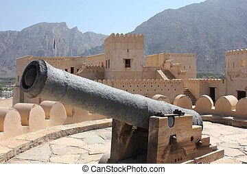 Cannon inside the Nakhal Fort - Nakhal Fort is a large...