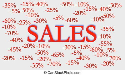 sale sign with discounts. red and white