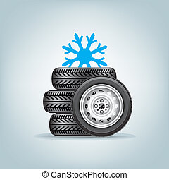 set of winter wheels - The set of winter wheels with icon of...