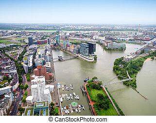 Dusseldorf city in Germany aerial view