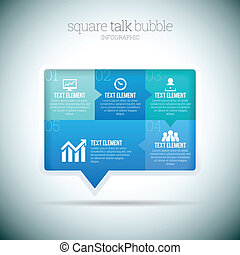 Square Talk Bubble Infographic - Vector illustration of...