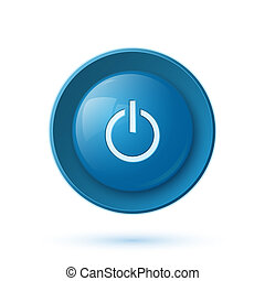 Blue glossy power button icon