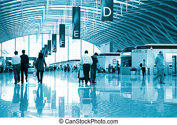 interior of the airport - the interior of the pudong airport...