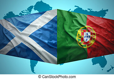 Waving Scottish and Portuguese flags