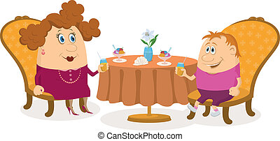 Mother and son near table, isolated