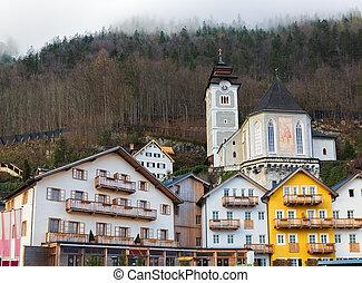 Historic buildings in Hallstatt, Salzkammergut, Austrian...