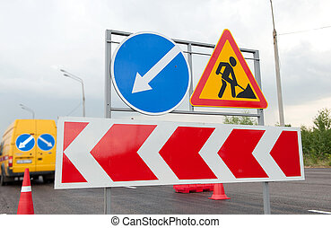 road works signs - close up of road works signs on a highway