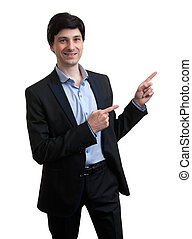 Business man pointing to copy space - isolated over a white...