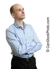 Handsome young business man looking up, isolated over white...