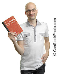 English education. Happy casual man with book. Isolated on...