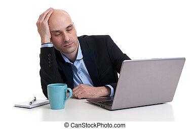 homme affaires, ordinateur portable, dormir, fatigué