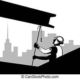Construction worker pulling on beam