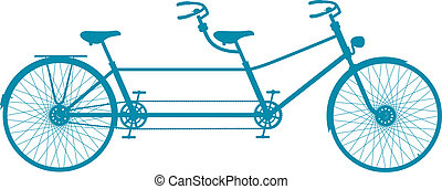 Retro tandem bicycle in blue design on white background