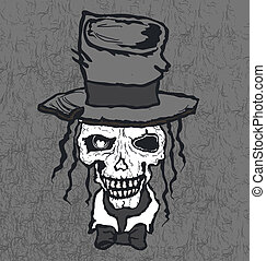 Skull in hat hand drawn illustration