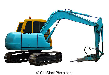 Blue mechanical digger side view