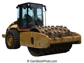 Yellow road roller - Illustration of a yellow road roller...