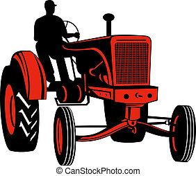Red vintage tractor with driver front view - Illustration of...