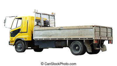 Truck side rear view isolated