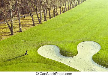 Golf course - Beautiful golf course with the sand bunker