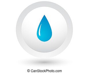 blue water drop on white button with shadow
