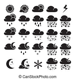 Weather widget interface symbols. Icons - sunny, cloudy,...