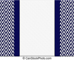 Navy Blue and White Chevron Zigzag Frame with Ribbon...