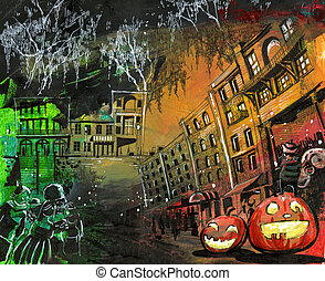 Halloween pumpkin old town painting