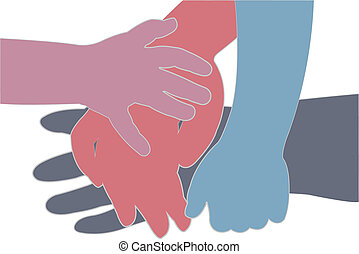 hands on hand, silhouette vector
