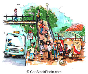 Bus stop, public transportation cartoon drawing
