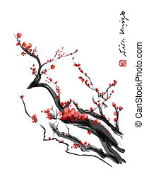 Sakura, cherry blossom plum chinese brush paintingRed cherry...