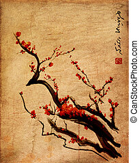 Sakura, cherry blossom plum chinese brush painting Red...