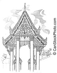 Temple beautiful drawing - Temple beautiful black and white...