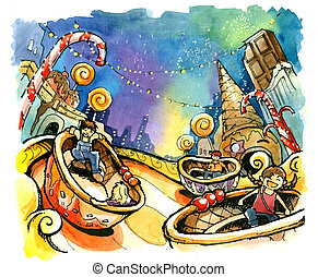 theme park, amusement park illustration fun summer